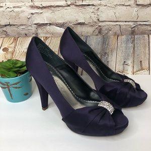 Michaelangelo Purple Satin Diana Heels